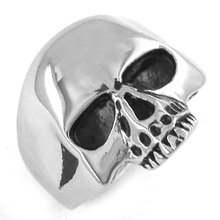 Wholesale Skull Biker Ring Stainless Steel Jewelry Classic Punk Silver Black Gold Motor Biker Skull Ring Men Women SWR0036(China)