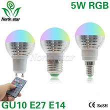 E27 E14 5W LED 16 Color Changing RGB Magic Light Bulb Lamp 85-265V 110V 120V 220V RGB Led Light Spotlight + IR Remote Control