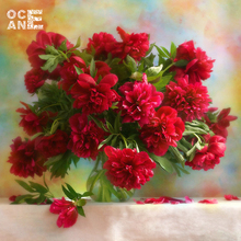 diy 3D diamond embroidery red chinese rose diamond painting flowers handcraft square stick rhinestone pasted painting C181