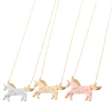 3 colors  White pink  blue Enamel  colorful Running horse Pendant Necklace Christmas Gift    XL-478
