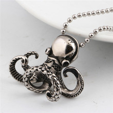 China Supplier Custom Fashion 316L Stainless Steel Octopus Shape Beaded Chain Pendant For Punk Men necklace