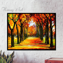 Handmade High Quality Abstract high quality Golden Avenue Lead to success Landscape Oil Painting on Canvas Oil Painting(China)