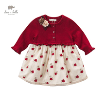 DB4077 dave bella autumn fall baby girl wedding  dress red roses embroidery flower appliques dress
