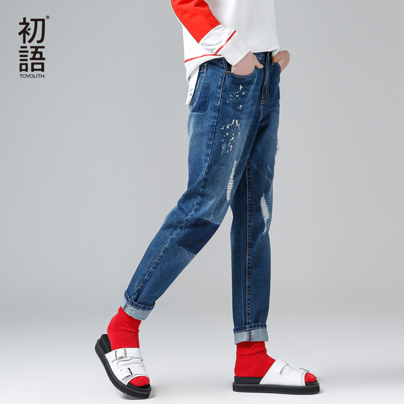 Toyouth New Jeans Women Hole Ankle-Length Jeans Pants Female Fashion Pencil Pants Plus SizeОдежда и ак�е��уары<br><br><br>Aliexpress