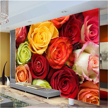 Romantic Custom Large Flower Wallpaper Colorful Roses Photo Wallpaper Canvas Silk Wall Painting Art Mural Room decor Rose World