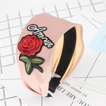 4pcs/lot Solid Color Leather Headband With Rose Rhinestone Embroidery Flower Hairbands For Girls Women Headwear Hair Accessories