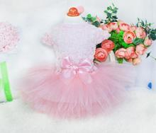 Fashion style dogs cats lovely lace rose flower dress puppy summer style pink princess dresses clothes 1pcs(China)