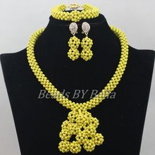 New Design Yellow Stone New Beads Jewellery Set Nigerian Wedding Party Necklace African Fashion Jewelry Set Free Shipping ABF703