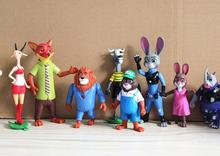 8pcs/set 10-15cm Disney Cartoon Movie Zootopia Animal Toys Judy Rabbit PVC Figures Dolls Kids Toys Gifts