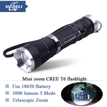 Compact and portable telescopic zoom led flashlight CREE XM-L T6 3000LM lumen high power led torch lantern Waterproof flashlight