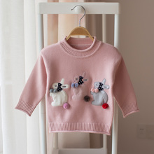New 2018 spring and autumn children's long-sleeved sweater girl baby cartoon rabbit cute fashion sweater kids girls sweaters()