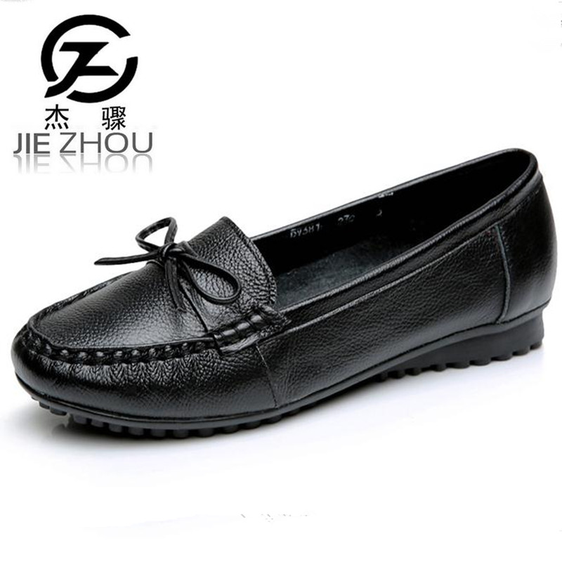 2018 spring womens shoes Genuine Leather Flat shoes Round head Large size elderly shoes Size 40 42 43 obuv Schuhe skor <br>