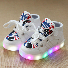Children LED Lighted Luminous Shoes for Kids Painting Mask Patterns Boy Girl Shoes High Top Children Boots Sneakers tx0234