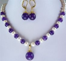 Hot 2014 new fashion style 7-8mm White Cultured Pearl  purple stone chalcedony round beads Necklace Earring 18inch BV171