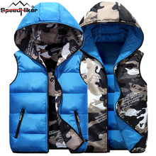 Speed Hiker Autumn Winter Vest Men Both Side Wear Thicken Warm cotton-padded hooded Camouflage Printed waistcoat M-4XL