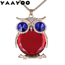 YAAYOO Women Owl Necklace 18 Colors Glass 75cm Long Pendants Chokers Statement Necklaces For Girl Gift Party(China)