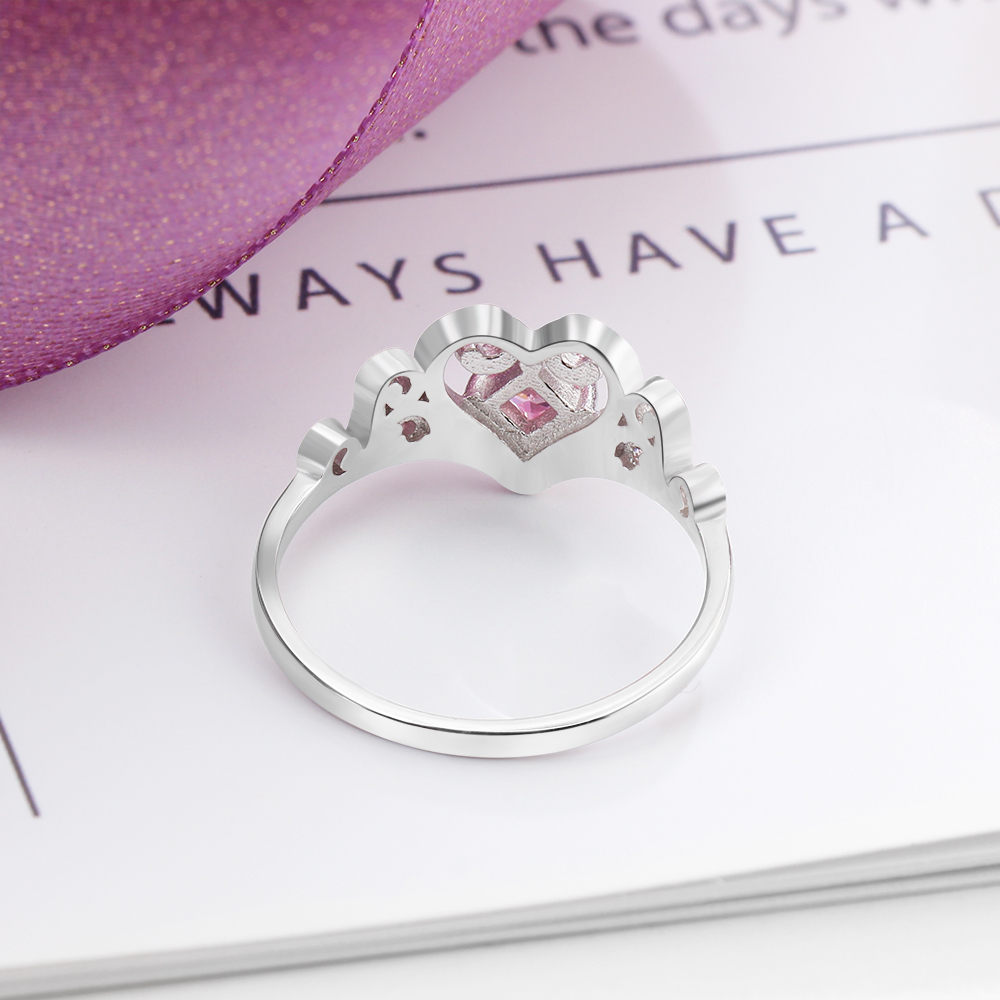 Beautiful Heart Crown Ring back