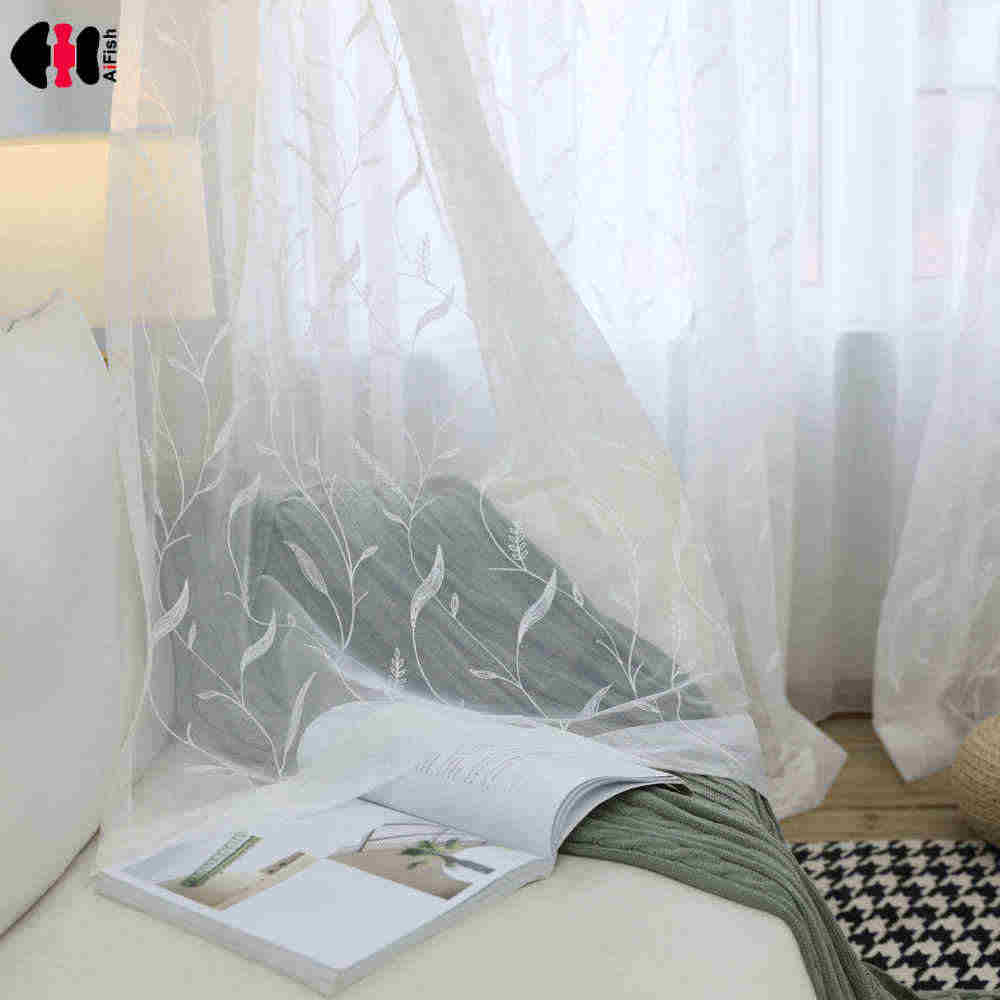 Simple Basic Modern Leaf Embroidered Curtain Nets Living Room Wedding Room French Window Panels Gauze WP061C