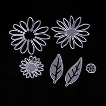 6Pcs/Set Chrysant Flower with Leaves Metal Die Cutting Dies For DIY Scrapbooking Photo Album Decorative Embossing Folder Craft(China)