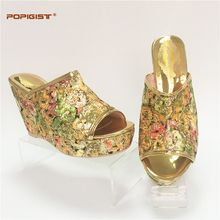 Possible match with bag Wedding shoes size 37-43 popular in Nigeria bling shining wedges Italian design shoes not matching bag(China)