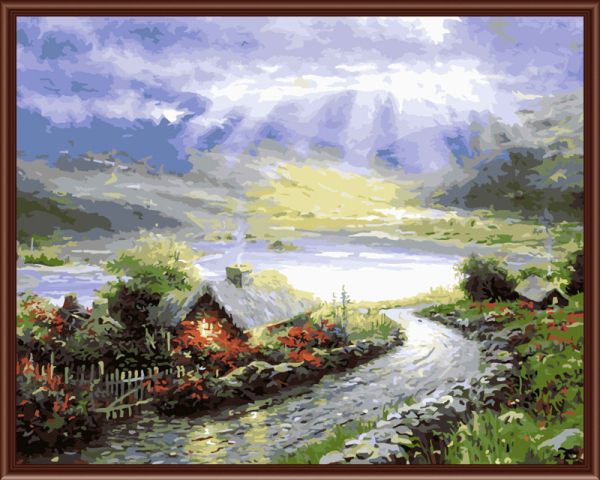 Frameless Pictures Painting By Numbers DIY Digital Oil Painting On Canvas Home Decoratin 40x50cm Country road Z090(China (Mainland))