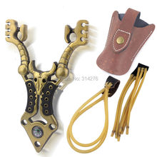 Mad Cow King Strong Slingshot Catapult+Brown Geninue Leather Pouch Bag+ 2x Rubber Band