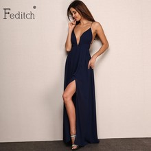 Feditch New Fashion 4 Color Deep V Neck Maxi Dress Women Sexy Backless Evening Party Dresses Nighrtclub Wear Vestidos Hot Sale(China)