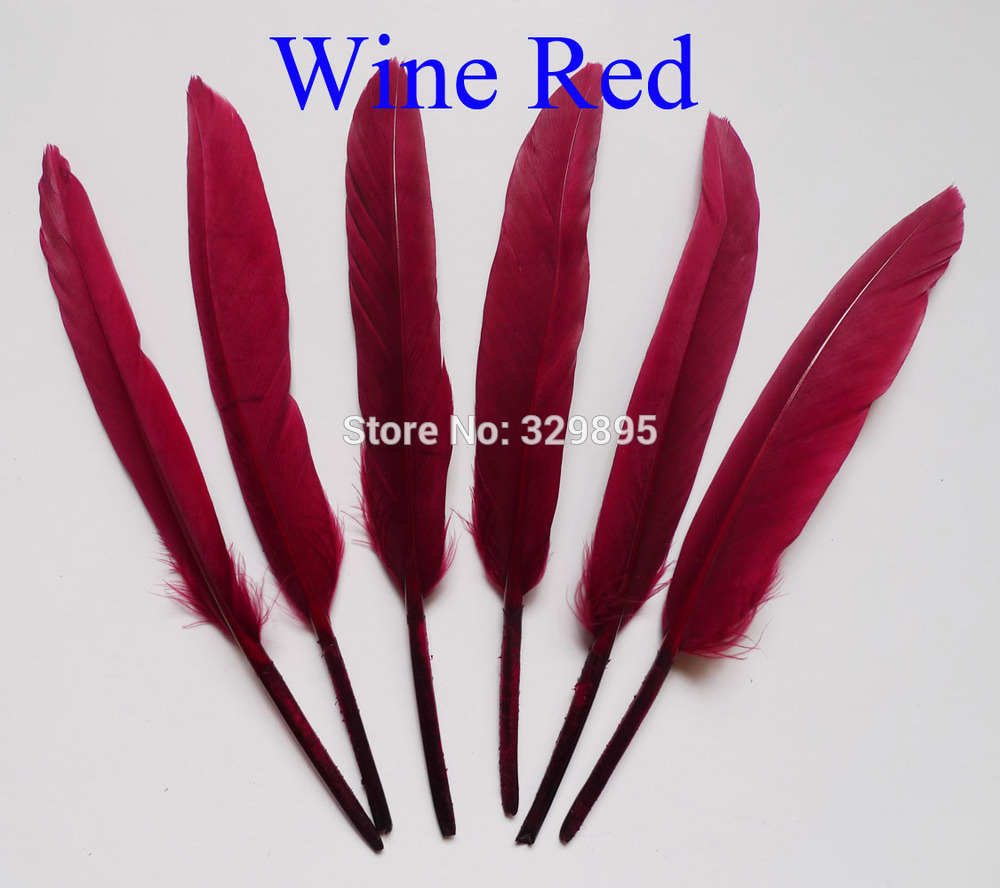 2015! 100pcs Wine Red Color 10-15cm 4-6inch raft Hats Material Accessories goose feather(China (Mainland))