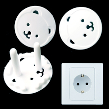 10Pcs/lot White Children Electrical Safety Protective Socket Cover Cap Cartoon Bear Two Phase Baby Security Product
