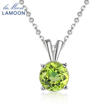 LAMOON Women Jewelry S925 Sterling Silver Chain Pendant Necklace Natural Gemstone Round Green Peridot Classic Necklaces NI057(China)