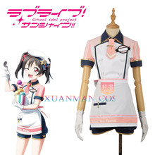 W1207-3 Love Live! Yazawa Nico Cosplay Costume Ice Cream Unawakened Custom Made Pink Maid Unifrom Girl Skirt Apron Short Dress(China)