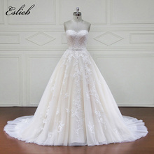 Buy Sweetheart Lace Appliques Sashes Pearls Beading Bow Wedding Dress Court Train Draped Line Shoulder Tulle Bridal Gown for $482.80 in AliExpress store