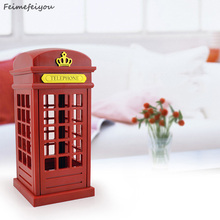 Vintage London Telephone Booth USB Charging battery including LED Night Lamp Touch Dimmable Table Desk Light for Home Office Bar(China)