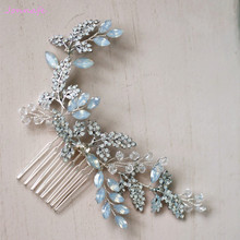 Jonnafe Crystal Hair Comb Bridesmaid Headpiece Fashion Wedding Hair Vie Accessories Bridal Hair Jewelry Piece(China)