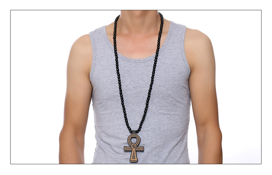Meaeguet Carving Ancient Egypt Ankh Pendant Necklace For Men Amulet With 8mm Wood Beads Chain Length -90CM (3)