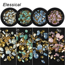 Buy ELESSICAL Mixed Shape Opal Nail Resin Rhinestones Gems 3D Tip Drill Copper Nail Charm Beads Studs Manicure Nails Art Decorations for $1.16 in AliExpress store