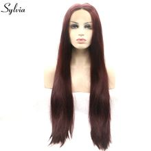 Sylvia Heat Resistant Fiber Brown Red Hair Long Silky Straight Synthetic Lace Front Wigs 99j# Color Middle Part For Women(China)