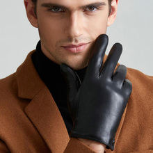 Men's Fashion Genuine Leather Gloves Thin/ Thick Plush Winter Warm Sheepskin Full Finger Touch Screen Driving Gloves Mittens L75(China)
