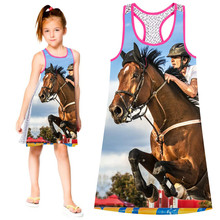 Summer style big brand Print Children Designer baby Kids Clothes Fashion The horse racing dress Girl dress nice Girls  Dresses