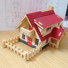 3D Wooden Toys For Children Wooden Puzzle Baby Toy Learning & Education Function DIY Western Style Cabin Scale Models Kids Toy