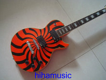 Brand new guitars red orange buzzsaw custom zakk guitar Mahogany body free shipping block inlay good quality windmill painting