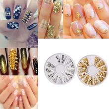 New 1 Box Gold Sliver Mini Rivets Nail Ornaments Alloy Nail Stickers Nail Art 3D DIY Decoration Manicure Tool SE1
