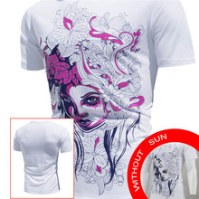 Fashion Men's Tops Shirt Encounter Sun Change Color Short Sleeve Casual T-Shirt 2017 New Design Plus Size White Clothing May 23