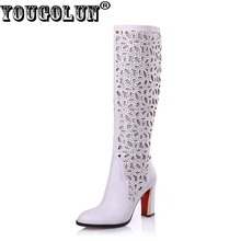 Buy YOUGOLUN Women Knee High Boots 2017 New Autumn Thick Heel 8.5 cm High Heels Black White Pointed toe Hollow Crystal Shoes #Y-211 for $47.94 in AliExpress store