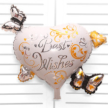 Mtrong Te 1pc Best wishes Butterfly love heart shaped foil balloons birthday wedding decoration Event party supplies Kids globes(China)