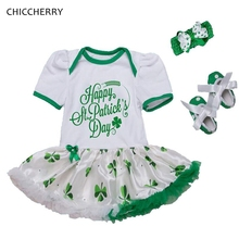 Happy St Patricks Day Outfit Baby Girl Romper Dress Headband Crib Shoes Bebe Party Newborn Tutu Sets Cute Toddler Girl Clothes(China)