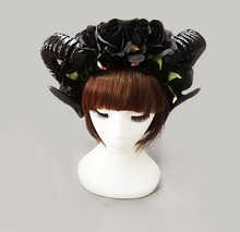 Vintage Victorian Black Roses Sheep Horns Headband Party Night Fancy Dress Lace Veil Hair Accessory Handmade