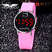 Hot 11 Colors Hello kitty Led Digital Children Watches Fashion Casual Sport Kids Clocks Cute Cartoon Dress Saats For Girls Gift(China)