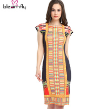 New Boho Dashiki Dress Vintage Bodycon Sundress Ladies Sexy traditional African Print Dresses Female Sexy Clothing Indian Robe(China)