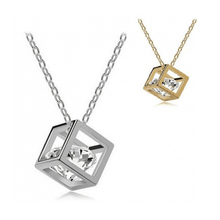 2017 Collier Fashion Geometric Cubes Chokers Necklace Three-dimensional Square Rhinestones Pendant Necklacce For Women Jewelry